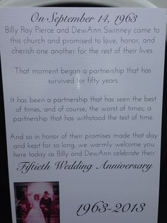 50th wedding anniversary - wonderful to place outside the door of the church.