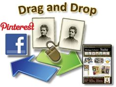 New! You can now drag and drop photos to and from FamilySearch, Facebook and Pinterest into Heritage Collector collections. Open Heritage Collector and another program such as Pinterest. Select a collection, go the photo in Pinterest. Double click to enlarge the photo. Left click and hold while dragging the photo to a collection. Now you can easily backup photos without having to make a PDF. Photos will be easier to find and use in the future.