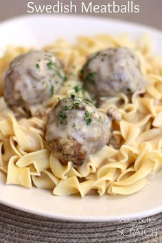 We liked this a lot! Didn't have egg noodles in the house, so we served it over rice. When we ran out of rice and meatballs, we had the gravy on toast. Swedish Meatballs recipe from TastesBetterFromScratch.com