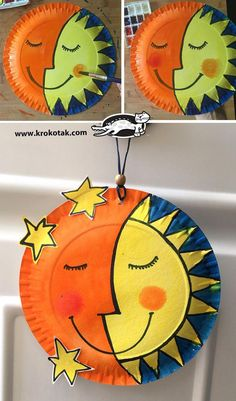 krokotak Sun and Moon hobbiesforkids EclecticDécor is part of Paper plate crafts for kids - Sun Crafts, Space Crafts, Diy Arts And Crafts, Paper Plate Art, Paper Plate Crafts For Kids, Kindergarten Art Projects, Pre Kindergarten, Hobbies For Kids, Spring Crafts