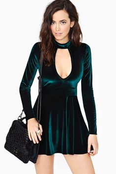 For Love & Lemons Anna Velvet Dress - Emerald