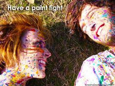 Paint fight! Must do this for our next family pictures!!