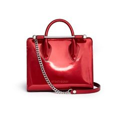 Strathberry The Strathberry Nano' mirror patent leather tote (£450) ❤ liked on Polyvore featuring bags, handbags, tote bags, red, red tote bag, red patent leather tote, red patent handbag, patent leather tote bag and red tote handbags