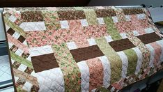 Floral Quilt, Pretty Lap Quilt, Day Bed Cover, Couch Throw, Shabby Chic Decor, Pink Green Brown Woven Ribbons