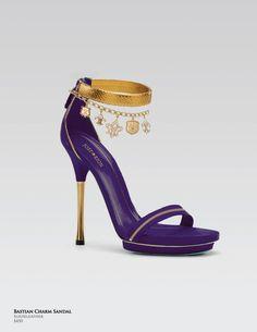 541d8acf2096 Bastian Charm Sandal purple and gold heel - LSU