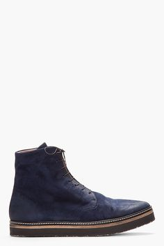 MARSÈLL //  Navy brushed suede bloccone boots  32349M047005  Ankle-high brushed suede boots in navy blue. Fading throughout. Tonal lace-up closure. Tonal stitching. Crepe rubber sole. Upper and lining: leather. Sole: rubber. Made in Italy.  $920 CAD