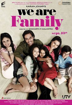We Are Family 2010 Unlimited online Hindi Movies, Hollywood Dubbed Movies, Telugu Movies, Tamil Movies All in One Place. Hindi Movie Song, Movie Songs, Movie Tv, Best Bollywood Movies, Bollywood Songs, Telugu Movies, Bollywood Actors, Dharma Productions, Family Poster