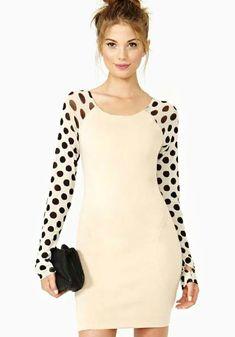 Beige contrast polka dot long sleeve bodycon dress #fashion
