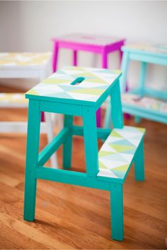 Upgrade a boring step stool with this DIY using bright colored paint and wallpaper.