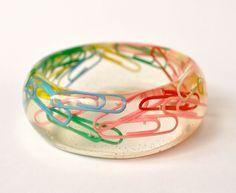 Paper Clip Resin Jewelry. Chunky Bangle. Rainbow.. $35.00, via Etsy.