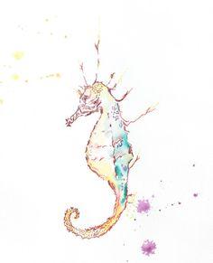 Seahorse Watercolor Print Prints. Watercolor by AngelicbyJones