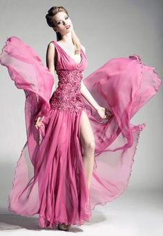 | Blanka Matragi. I love this color and the gown but the slit needs to be sewn shut for a bridesmaid  gown ;)