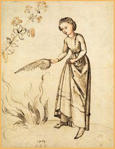 Martin Schongauer, Young Woman Fanning a Fire with a Bird's Wing, 1469. What is with the neck closure??