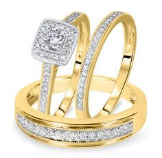 6.5 7.5 Women Ring Size Gemini His and Her 18K Gold Filled Matching Titanium Wedding Rings Set 8mm/&5mm Width Men Ring Size