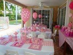 pink and white striped table decor party - Google Search