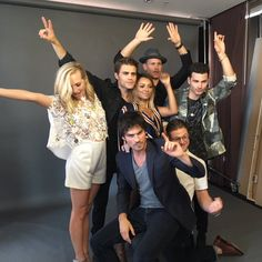 #TVD The Vampire Diaries Comic Con  Candice Accola(Caroline),Paul Wesley(Stefan),Matthew Davis(Alaric),Kat Graham(Bonnie),Michael Malarkey(Enzo),Zach Roerig(Matt) & Ian Somerhalder(Damon)