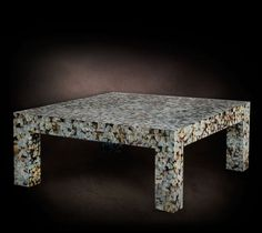 Contemporary coffee table (mother of pearl finish) - MADRAPERLA NERA - Livingstonehome by Stefano Agosta srl