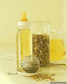 A weak solution of chamomile tea can settle and soothe a baby's uncomfortable stomach. Add boiling water to a tea bag or loose tea. Steep for one minute. Strain the liquid, and allow to cool before filling bottle. One bottle a day is sufficient. (Should not be administered to babies younger than 4 months. Ask your pediatrician about possible allergic reactions.)