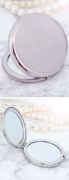 This Engraved Compact Mirror is GORGEOUS. An accessory that every girl should have in her purse! Get yours monogrammed now at Marleylilly.com!