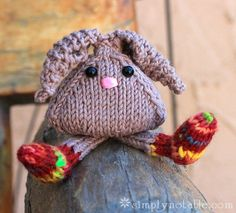 Tumbling Bunnies Free Knitting Pattern {cutest little bunny! what a fabulous project for scrap yarn. would make a great booboo bunny by wetting, squeezing and freezing! Knitting For Kids, Knitting Yarn, Knitting Projects, Baby Knitting, Knit Or Crochet, Crochet Toys, Knitting Patterns Free, Free Knitting, Free Pattern