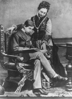 A young Kaiser Wilhelm II posed with a book and his mother, Germany, 1876