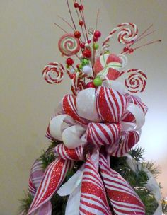 Red and White Candy tree topper  Tree decorations  Bow Tree