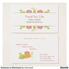 Dietician or Nutritionist Business Card