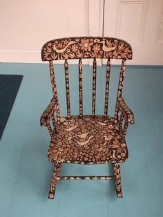 Is this the most beautiful rocking chair in the world? Probably. Woodburned rocking chair by burnedfurniture on Etsy.