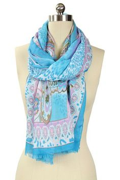 Animal Paisley Scarf - Turquoise Pink