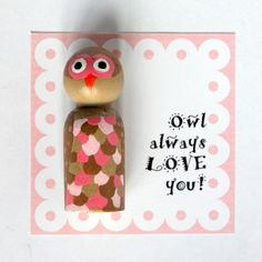 Valentines Day Owl Peg Doll #Valentines #CraftThatParty #RedBarnFeature