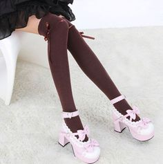 """Japanese sweet cos lace-up knee-high socks Coupon code """"cutekawaii"""" for 10% off"""