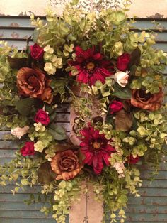 French Country - Shabby Chic - Cottage Chic - Chocolate & Burgundy Rose - Gerbera Daisy - Grapevine Wreath