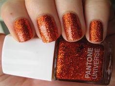 three coats of Sephora + Pantone's Tangerine Tango Glitter