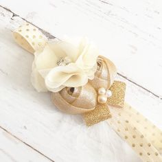 Ivory cream gold sparkle chiffon headband-pink gold party headband by Goldfeatherboutique on Etsy https://www.etsy.com/listing/226591065/ivory-cream-gold-sparkle-chiffon