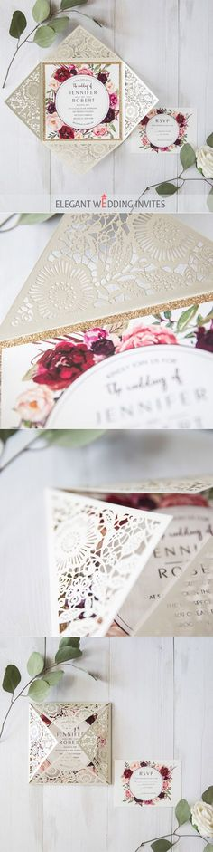 affordable Ivory laser cut burgundy floral unique wedding invitations with glittery bottom