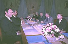 Mohammad Reza Shah (second left) meeting with U.S. President Jimmy Carter (second right) in Tehran. (December 31 1977 or January 1, 1978). The Iranian side also included Ardeshir Zahedi (first left) who was Iran's ambassador to Washington at the time. The U.S. delegation included National Security Advisor Zbigniew Brzezinski (first right), Secretary of State Cyrus Vance (third right), and U.S. Ambassador to Tehran William Sullivan (fourth right).
