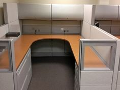 (2) Available, only Sold together Herman Miller Ethospace, 8'x8' U-Shape Cubicle sitting side by side Each with a BBF Pedestal & FF Pedestal, 2-Drawer Lateral File and (2) Overhead Storage Units.  Contemporary  step down design and some Glass Accents. Total price for both $2595