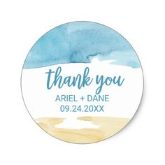 #Watercolor Sand and Sea Thank You Favor Classic Round Sticker - #birthday #gift #present #giftidea #idea #gifts
