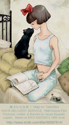 魔女の宅急便  / Majo no Takkyūbin / KIKI'S DELIVERY SERVICE.  (1989 ANIME FILM) Produced, written, & directed by Hayao Miyazaki (Japan)... Based on EIKO KADONO's 1985 NOVEL of the same name. More on the film: http://en.wikipedia.org/wiki/Kiki%27s_Delivery_Service    Witch-in-Training, Kiki, Black Cat, Jiji, Flight Manual, Book.