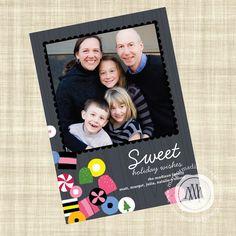 Modern Custom Holiday Photo Card-Allsorts Candy
