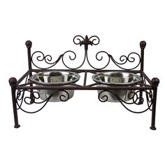This fluer-de-lis iron pet feeder is the way to show that your pet deserves just as much class as you. This is the perfect accompanying piece to the Antique Brown Fluer De Lis Iron Pet Bed . This feed