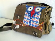 Mrs. Owl. Upcycled german army bags.