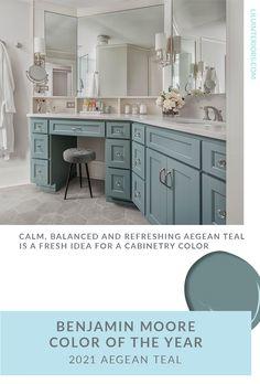 Teal Kitchen Cabinets, Kitchen Cabinet Colors, Painting Kitchen Cabinets, Kitchen Colors, Kitchen Design, Benjamin Moore Bathroom, Benjamin Moore Paint, Benjamin Moore Colors, Blue Green Kitchen