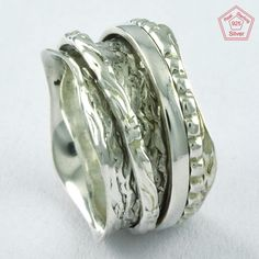 Prestige's Hammered Design 925 Sterling Silver Spinner Ring R4730, Sz. 9.5 US #SilvexImagesIndiaPvtLtd #Spinner #AllOccasions