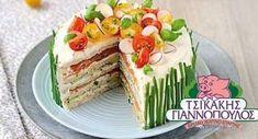Αλμυρή τούρτα με ψωμί του τοστ, τυρί και γαλοπούλα