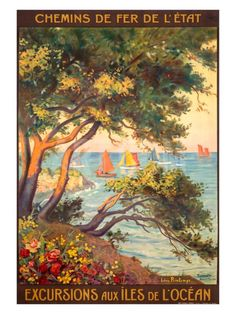 Vintage Railway Travel Poster - Excursions aux îles de lÓcéan - France.
