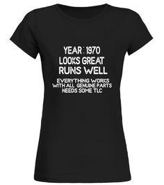 Mens Funny 47th Birthday gift shirt for men / guys born in 1970.