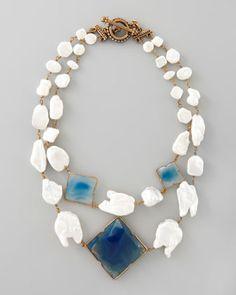 Pearl & Blue Agate Necklace Stephen Dweck. Love real gemstone statement jewelry www.tanyalochridge.com.