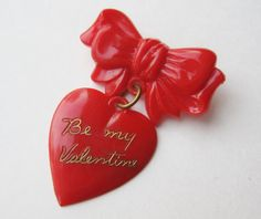 Vintage 30s 40s Red Celluloid Be My Valentine Sweet Heart Bow