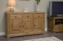 Deluxe Rustic Oak Large Sideboard with Wine Rack